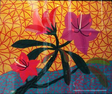 Yayoi Kusama flower painting